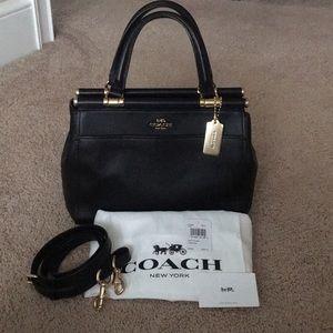 Coach Grace Satchel Pebble Leather Black
